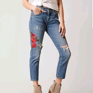 Levi's 501 Taper Leg Button Fly Cropped Jeans